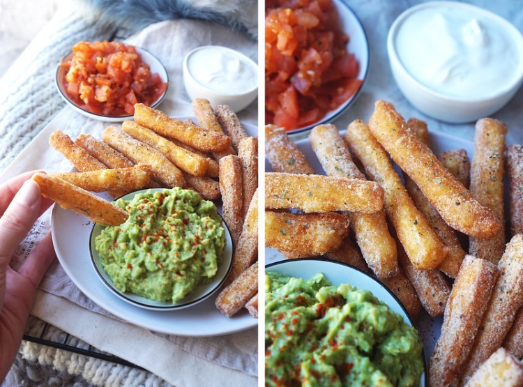 Homemade fried paneer and halloumi fries with guacamole, salsa and sour cream.