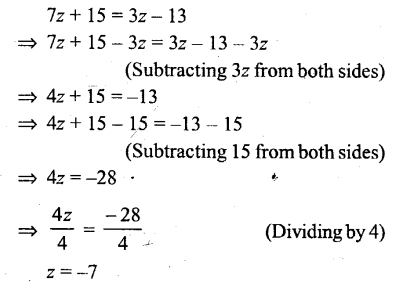 Selina Concise Mathematics Class 6 ICSE Solutions - Simple (Linear) Equations (Including Word Problems) - r33