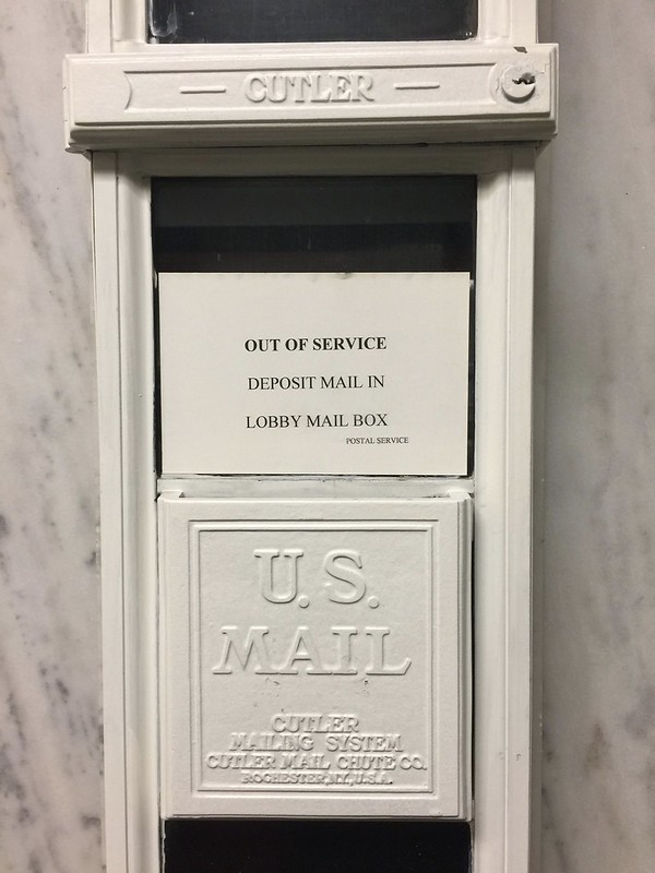 Cutler mail chute, 11th floor, Garland building, Chicago
