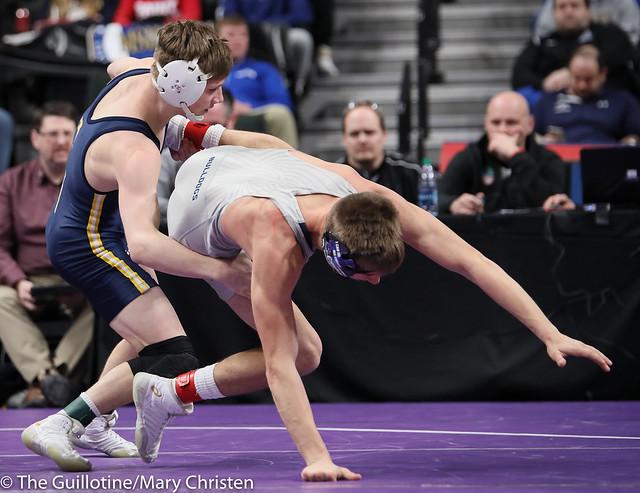 126AA Semifinal - Jake Svihel (Totino-Grace) 57-0 won by tech fall over Jake Nelson (Becker) 42-5 (TF-1.5 5:28 (23-8)). 190302AMC3202