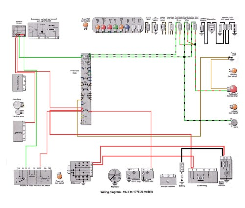 6 Series 1975-76: Brake Light Switches Ground Path Wiring [SOURCE: Haynes Manual]    --> CLICK TO ENLARGE