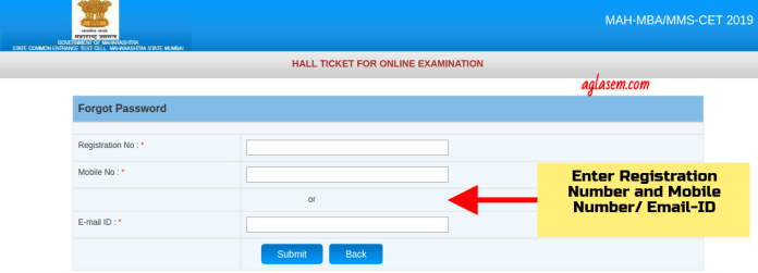 Recover Password for MBA CET 2019 Admit Card