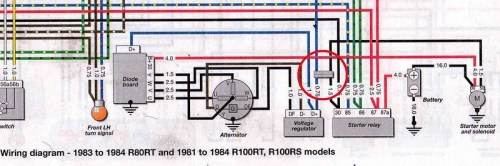 1983 R100RS Wiring Diagram Shows Connector With BLUE & BLACK Wires