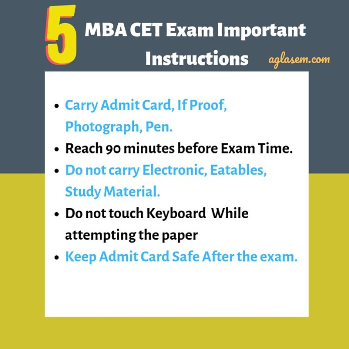 mab cet 2019 important instructions
