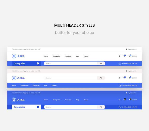 Leo Clarks - Multi Header styles Supports - Multistore PrestaShop Theme