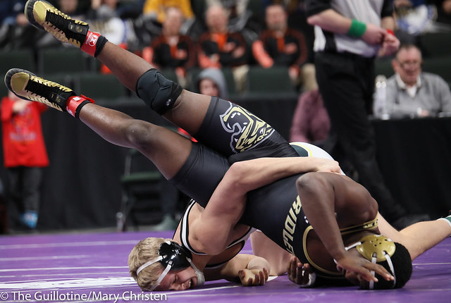 195AA Semifinal - Ty Moser (Perham) 46-0 won by tech fall over Josh Franklin (Fridley) 33-5 (TF-1.5 3:12 (18-3)). 190302AMC3386