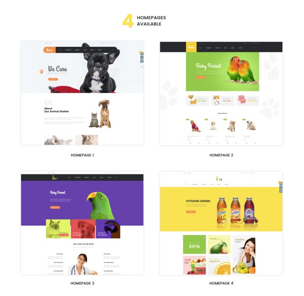 multiple homepages for Food store, Cakery store, Coffee shop, pizza store - PrestaShop Pet Shop Theme