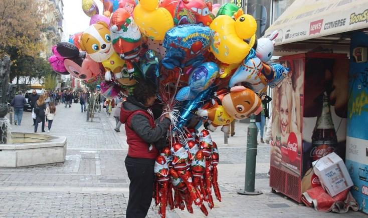 Santa Claus balloons, Athens, Grece