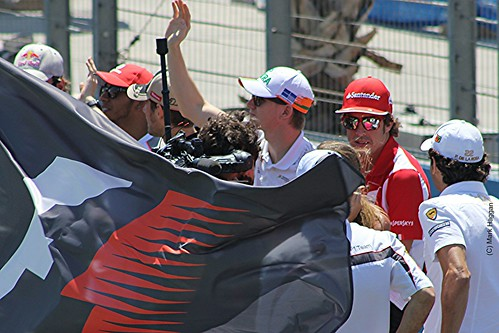 Fernando Alonso on the drivers' parade before the 2012 European Grand Prix in Valencia
