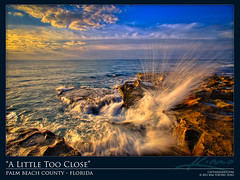 Wave Blasting Against Rock During Sunrise at Beach