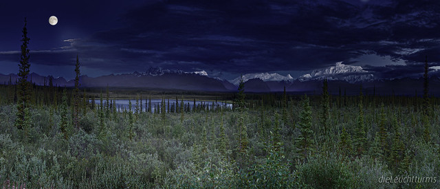 Full moon above Nabesna Valley