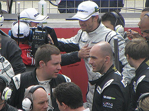 Jenson Button on the grid ahead of the 2009 British Grand Prix