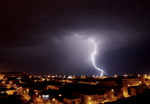 Lighting (Fernanda Pavanello) city houses light shadow storm brasil night dark saopaulo lightning thunder marilia