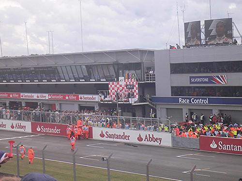 The podium celebration with Lewis Hamilton winning the 2008 British Grand Prix