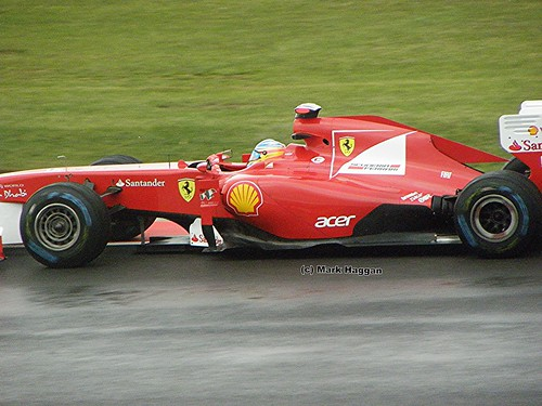 Fernando Alonso in his Ferrari F1 car at the 2011 British Grand Prix at Silverstone