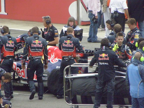 The Red Bull team prepares for the 2011 British Grand Prix