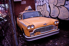 Retro Checkered New York Yellow Taxi in Greenp...