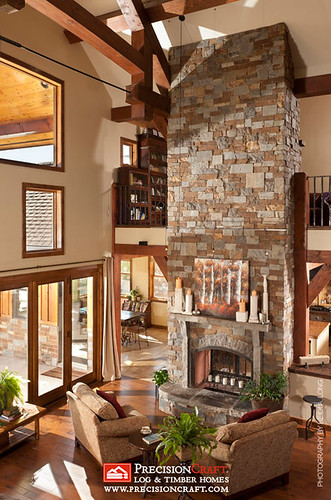 Beautiful Great Room View  Custom Timber Frame Home