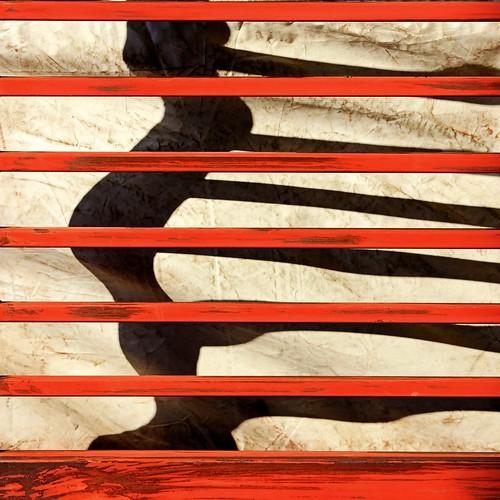 shadow red distortion abstract metal horizontal bar decay vinyl sunny line squareformat sheet wavy tanakawho