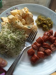 Grilled Applegate all natural hotdogs with homemade relish, potato salad and alfalfa sprouts #naturallyglutenfree #gf #glutenfree
