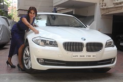Actress Sanjjanaa with her own BMW 5 series (3)