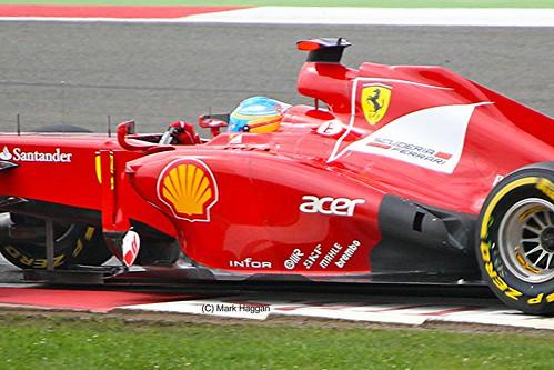 Fernando Alonso in his Ferrari during the 2012 British Grand Prix at Silverstone