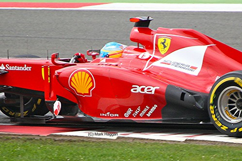 Fernando Alonso in his Ferrari during the 2012 British Grand Prix at Silverstone