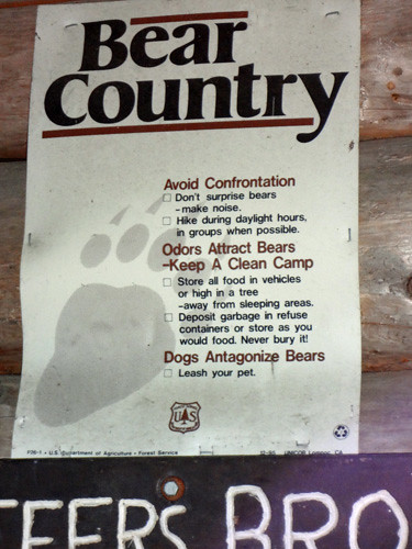 Bear Country Sign at Jeffers Brook Shelter on NH Appalachian Trail