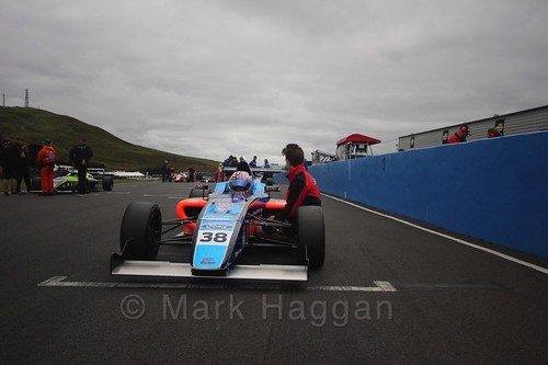 Jamie Caroline on the grid ahead of British Formula Four race 2 during the BTCC Knockhill Weekend 2016