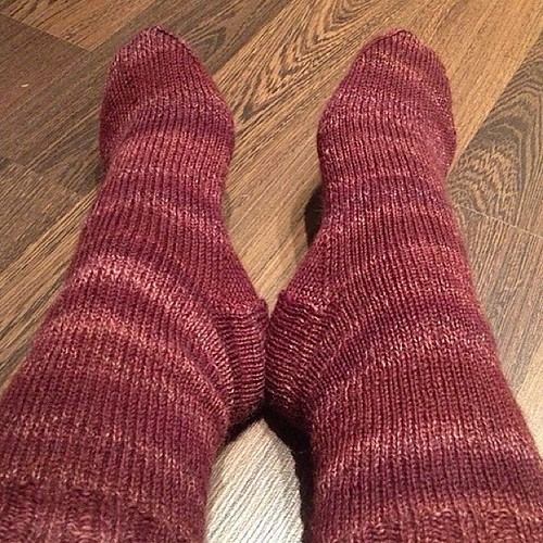 First pair of knitted socks, so pleased by joeyanne, on Flickr