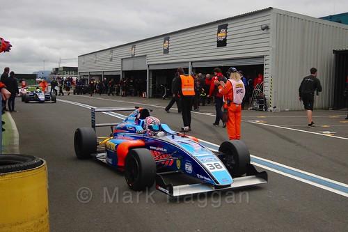 Jamie Caroline after British Formula Four race 2 during the BTCC Knockhill Weekend 2016