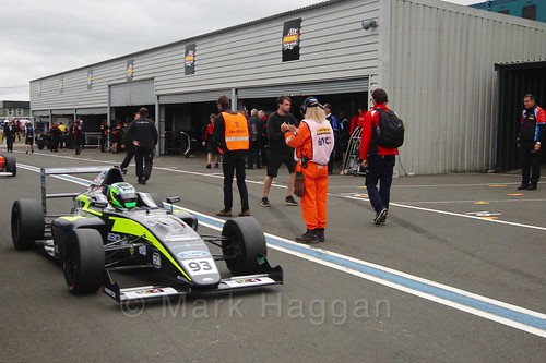 Zane Goddard after the British Formula Four race 2 during the BTCC Knockhill Weekend 2016