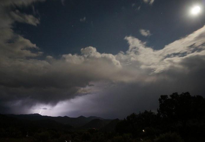 Lightning, moon and stars