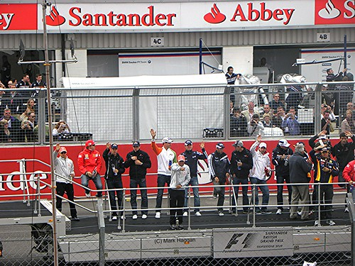 The drivers' parade before the 2009 British Grand Prix