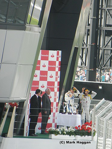 The podium at Silverstone for the 2011 British Grand Prix GP2 round