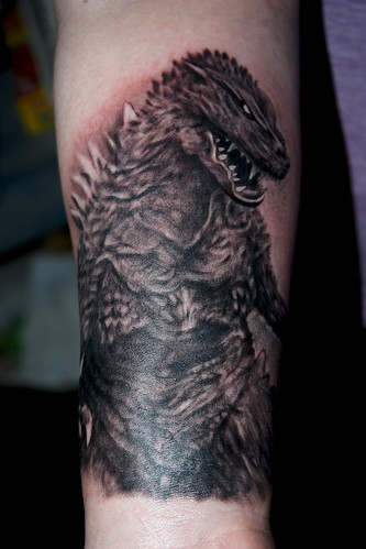 David Gray black and grey godzilla portrait tattoo