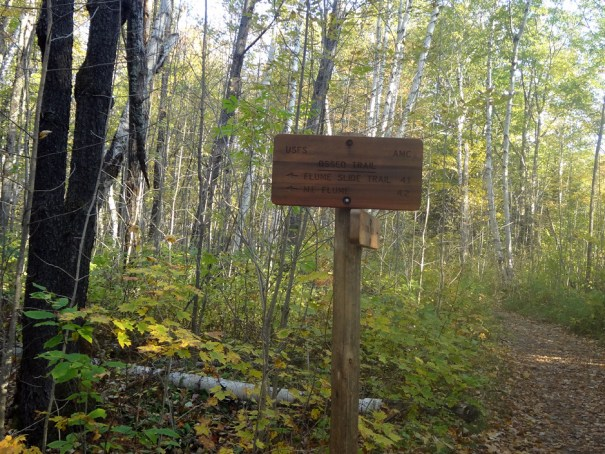 Osseo Trail Sign for Mt. Flume