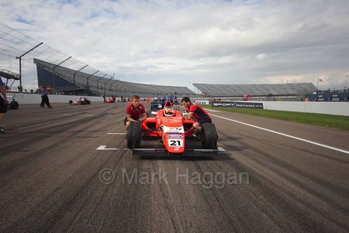 Rafael Martins on the British Formula Four grid at Rockingham, August 2016