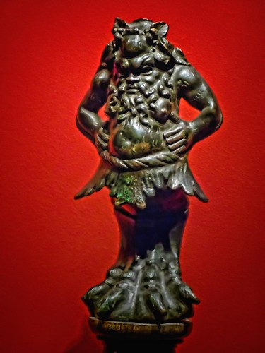 A foot from a Roman couch depicting the satyr-like Seilenos, henchman of Dionysos the god of wine and revelry 1st-2nd century CE Bronze
