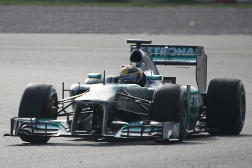 Lewis Hamilton in his Mercedes in Formula One Winter Testing, March 2013