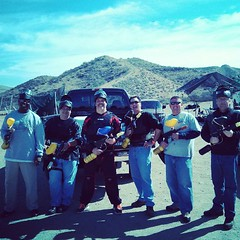 It's the 40 and over Paintball crew