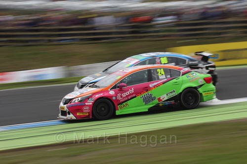 Jake Hill passes Tom Ingram in BTCC race 2 during the Knockhill Weekend 2016