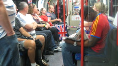 Londoners and Olympics fans intermingle on the...