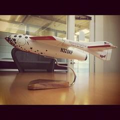 Mini SpaceShipOne replica in conference room