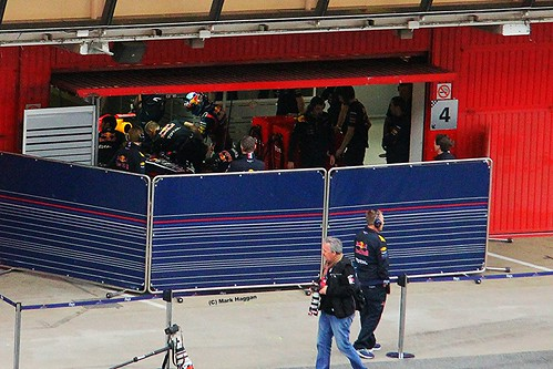 Sebastian Vettel prepares to get into his Red Bull at Formula One Winter Testing, Circuit de Catalunya, March 2012