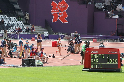 Jessica Ennis for Team GB in the javelin during the heptathlon at the London 2012 Olympics