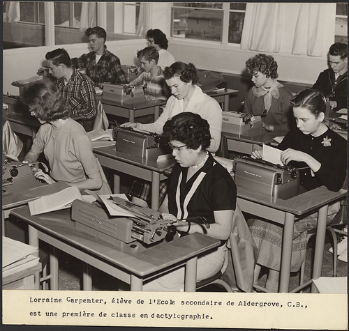 Lorraine Carpenter in typing class at Aldergro...
