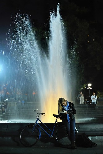 reading by the fountain