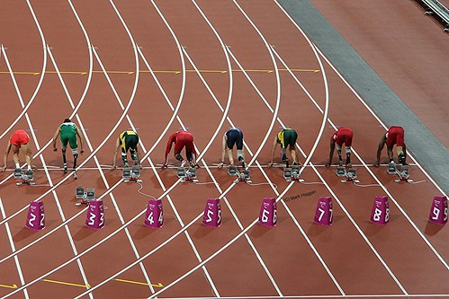 The start of the men's T44 100m final at the London 2012 Paralympics