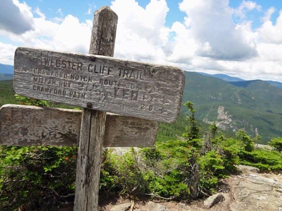 Webster Cliff Trail Sign Atop Mt. Jackson